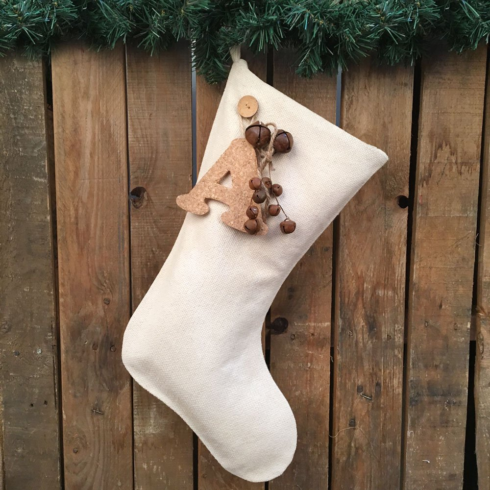 Jubilee Creative Studio 18'' Natural White Cotton Christmas Stocking With Personalized Letter Charm & Rusty Bells Ornament by