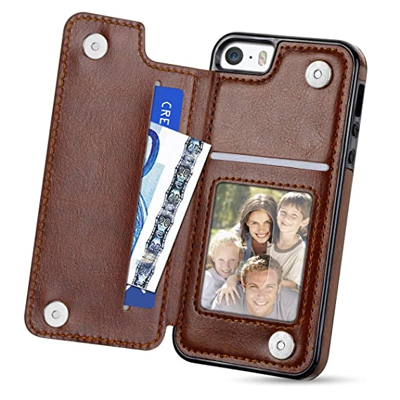best sneakers 629cb ad2d4 HianDier Wallet Case for iPhone SE 5s 5, Flip Folio Case with Card Holder  Slim Soft PU Leather Protective Magnetic Closure Cover Case Compatible with  ...