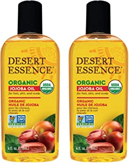 product image for Desert Essence Organic Jojoba Oil - 4 Fl Oz - Pack of 2 - Moisturizer for Face, Skin, Hair - Cleanses Clogged Pores - May Prevent Scalp Flakiness - Fights Skin Infections - USDA - Sensitive Skin