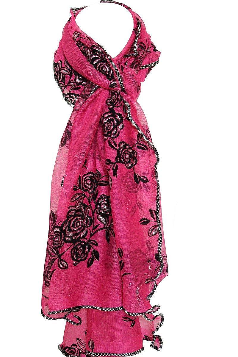 Schwarz 220cm x 65cm Schal Netz Gepr/ägt Samt Blumen Schal Stola Umhang Hijab