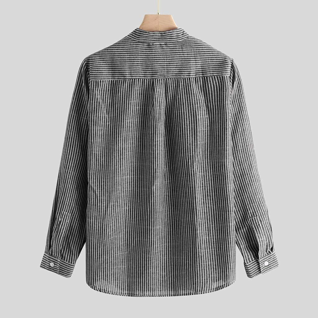 Uqiangy Mens Casual Cotton Striped Long Sleeve Loose Fit Big and Tall Sizes Buttons Shirts