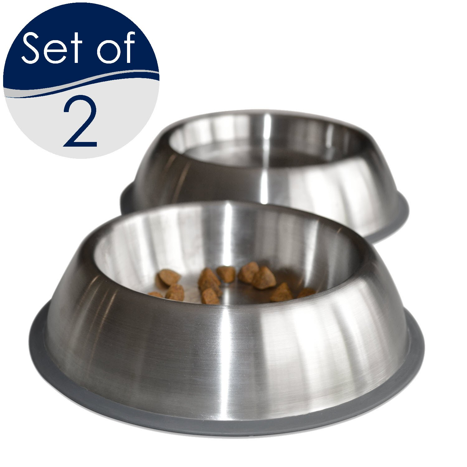 PetFusion Premium Brushed Anti-tip Small Dog & Cat Bowls, Set of 2. [FOOD GRADE SS, Bonded silicone ring]