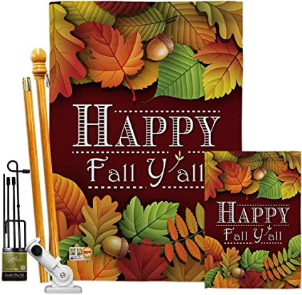 Breeze Decor Harvest Autumn Happy Fall Y All Garden House Flags Kit Scarecrow Pumkins Sunflower Leaves Season Autumntime Gathering Small Decorative Gift Yard Banner Made In Usa 28 X
