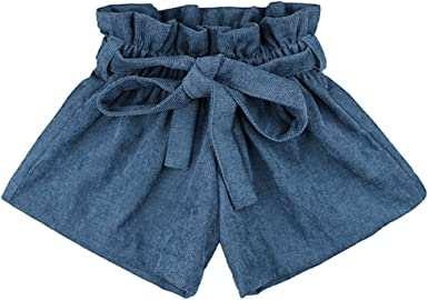 AYIYO Baby Infant Toddler Girls Bowknot Ruffle Bloomers Culottes Shorts with Belt