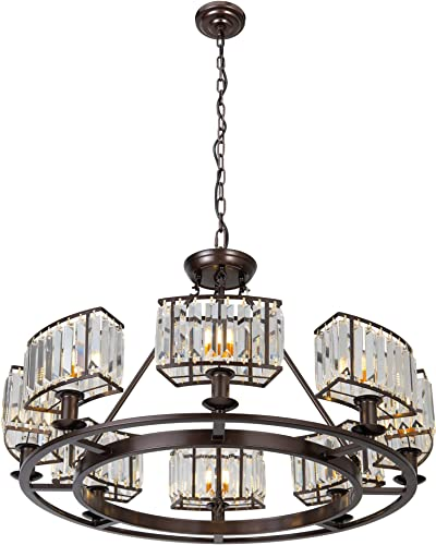 OSAIRUOS Bronze Crystal Chandeliers Modern Contemporary Ceiling Lighting Fixtures Vintage Pendant Lights Living Dining Room Foyer Entryway Chandelier Farmhouse W32.7″ 8-Light
