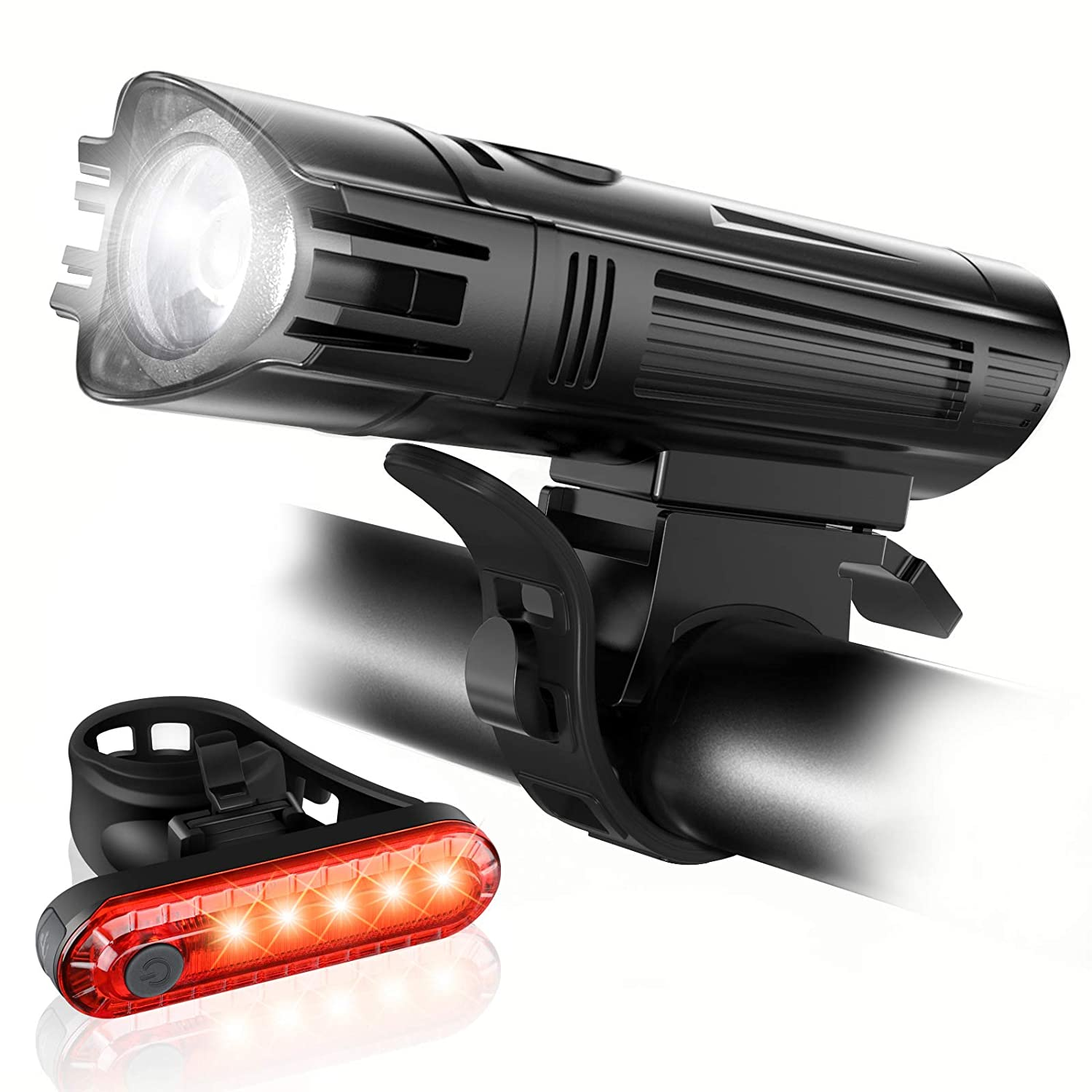 Ascher Ultra Bright USB Rechargeable Bike Light Set, 300 Lumens Front LED Headlight and Back Rear Lights, 4 Light Modes, Water Resistant, Easy to Install for Men Women Kids Road Mountain Cycling