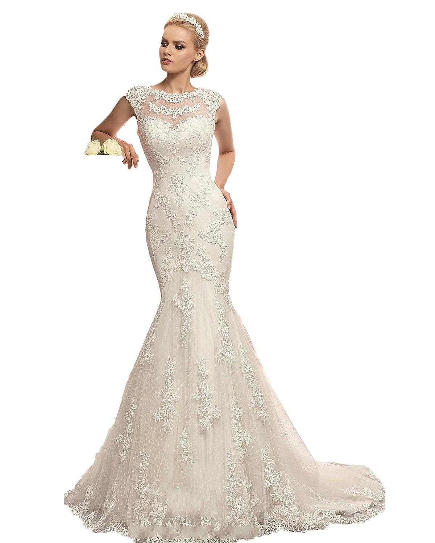 CoCogirls Jahrgang Spitze Appliques Braut Hochzeitskleid ...