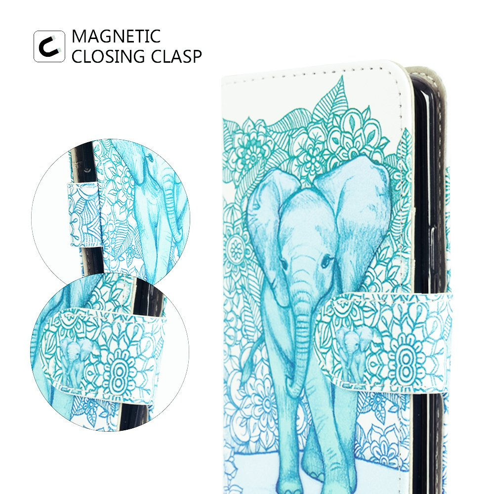 MagicSky iPhone 7/8 Case, iPhone 7/8 Wallet Case Folio Flip Premium PU Leather Case Cover with Card Holder Slot Pockets,Wrist Strap,Magnetic Closure for Apple iPhone 7/8 4.7 Inch, Elephant