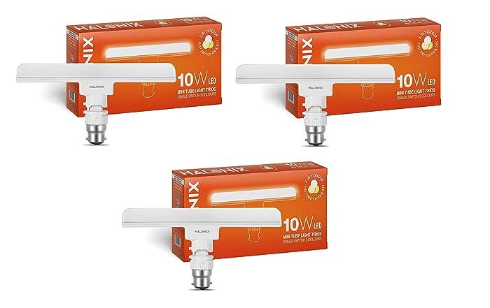 Halonix T-Light Trios Base B22 10-Watt LED Tube Light (3 in 1 Colour,Pack of 3)