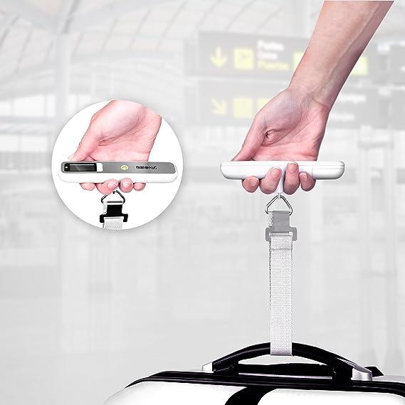 Duronic LS1019 Báscula de Equipaje Ergonómica Digital LCD para Maletas, Mochila de Viaje, Pesca, Hasta 50 Kg, Color Blanco y Plateado: Amazon.es: Equipaje