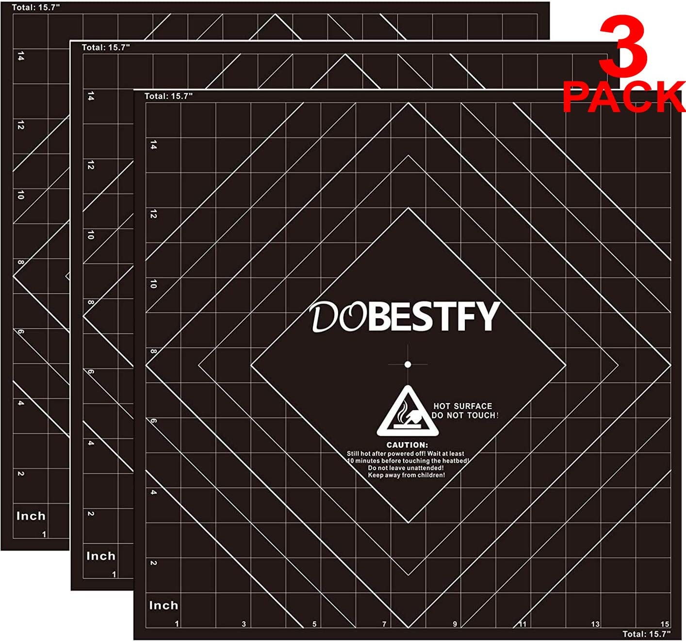 "3D Printing Build Surface, 16""x16"" (400x400mm) 3D Printer Heat Bed Platform Sticker Sheet with 3M Adhesive (Pack of 3)"