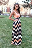 Coral Chevron Tank Maxi Dress Med L51189-2