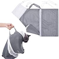 Cat Mesh Bathing Bag for Shower Nail Trimming Injection Medicine Taking Grooming Restraint, Gray