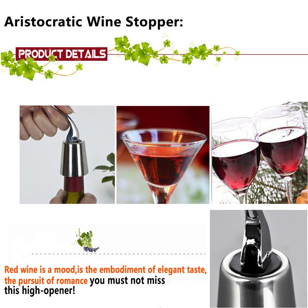 Wine Stoppers, ProCIV Set of 3 Red Wine Bottle Stopper Stainless Steel, Vacuum Sealed Bottle Plug Keep Wine Fresh