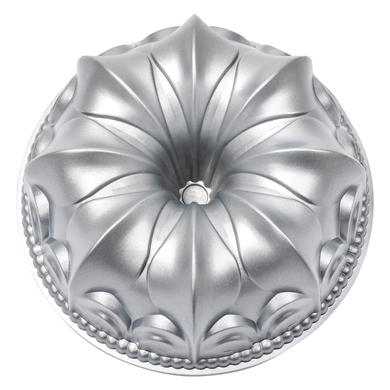 Fleur de lis Bundt Cake Pan Fluted Tube Cake Pan Nonstick Lily Cast Aluminum 10 Cup Platinum Collection Baking Bundt Pan Mold for Baking