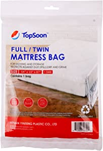 TopSoon Mattress Storage Bag Mattress Disposal Bag Full/Twin Size 54-Inch by 87-Inch Clear