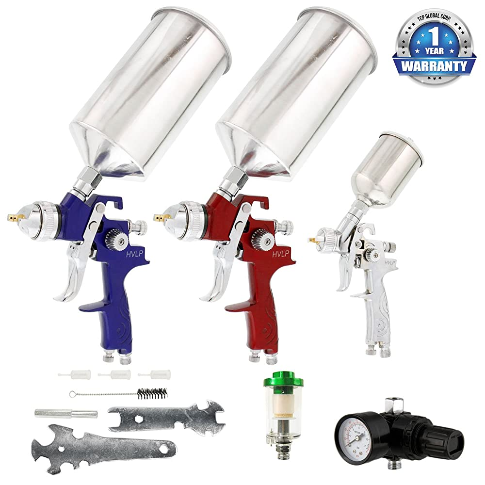 TCP Global Brand HVLP Spray Gun Set - 3 Sprayguns with Cups, Air Regulator & Maintenance Kit for all Auto Paint, Primer, Topcoat & Touch-Up, One Year Warranty Review