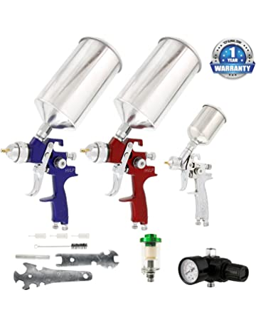 TCP Global Complete Professional 9 Piece HVLP Spray Gun Set with 2 Full Size Spray Guns