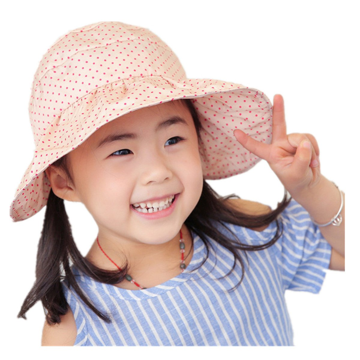 CHRISTYZHANG Baby Girls UPF 50+ Sun Protection Hat Cotton Breathable Summer Kids Caps (Pink)