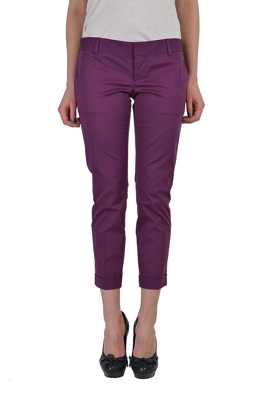 Dsquared2 Women's Purple Flat Front Cropped Pants US 4 IT 40