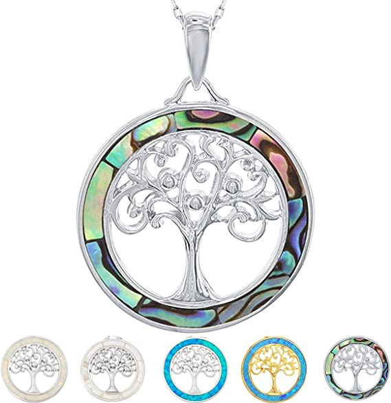 TREE OF LIFE HEALING SPIRITUAL SILVER  NECKLACE 40 MM FLOWER PENDANT GIFT BOXED
