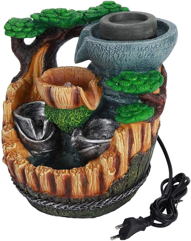 Fuente de mesa de interior Pequeño jardín de rocalla Escritorio Montaña en cascada Cascadas Resina Jardín de rocalla Fuente de agua de escritorio Decoración de mesa Adorno Regalo de cumpleaños(EU)