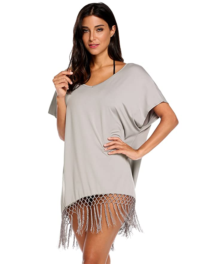 52f405718f Meaneor Women's Summer Swimwear Short Sleeve Tassel Loose Tunic Cover up / Beach  Dress