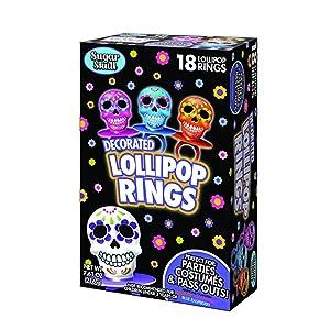 Halloween Day of the Dead Sugar Skull Lollipop Rings, Box of 18