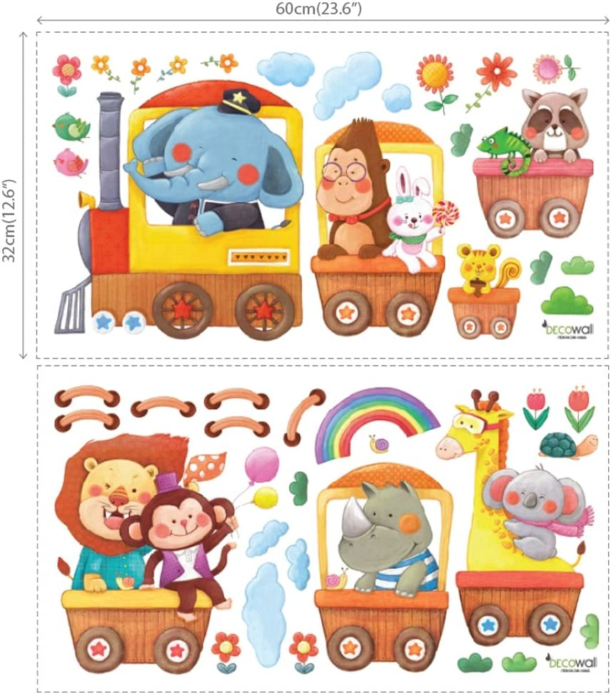 XLarge DECOWALL DL-1406AL Animal Trains Kids Wall Stickers Wall Decals Peel and Stick Removable Wall Stickers for Kids Nursery Bedroom Living Room