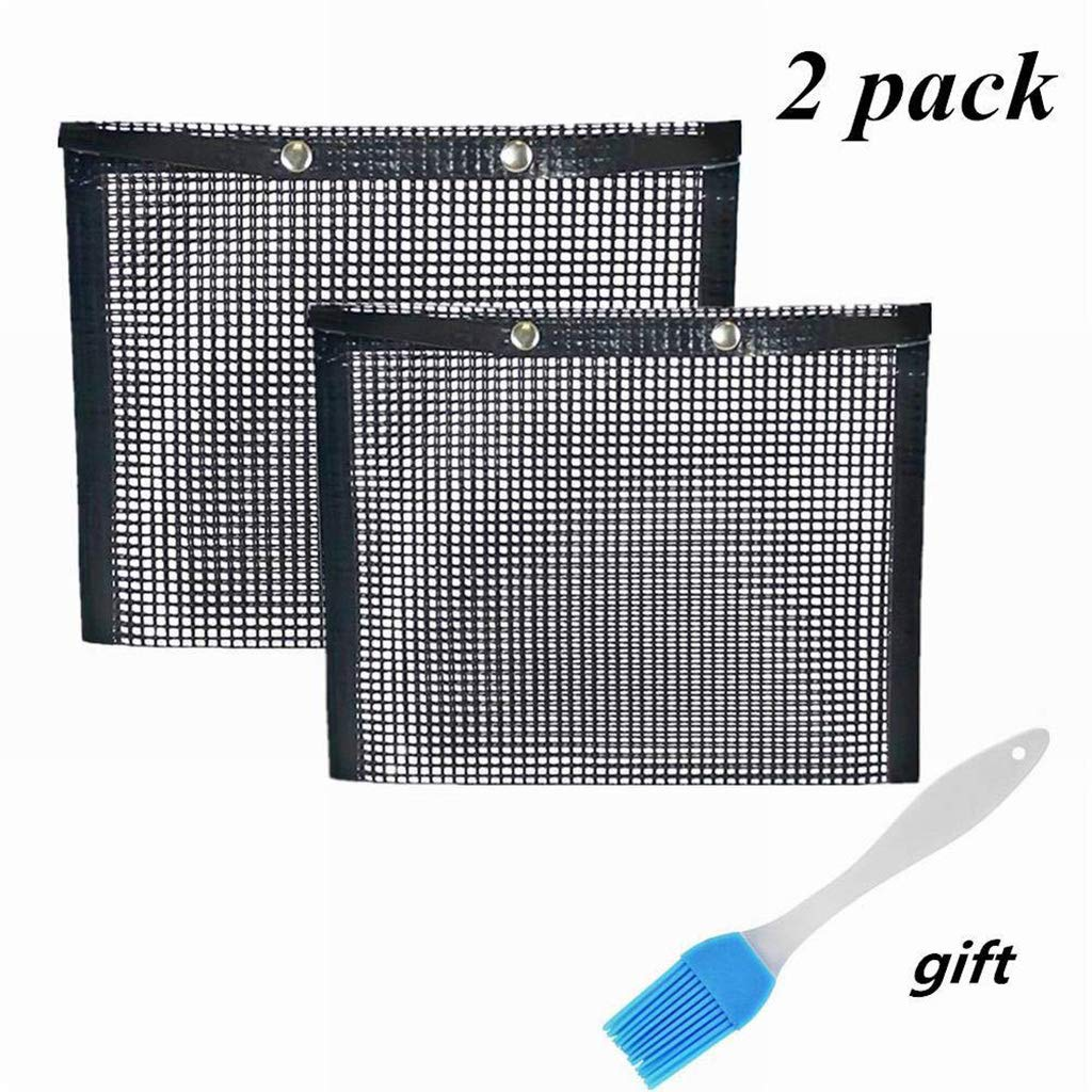 Yuxiale Non Stick Mesh Bag for Grill PTFE Toaster Oven Bags Barbecue Pockets Sheets Pack of 2