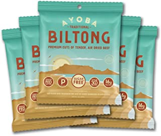 product image for Ayoba Biltong - Grass Fed, Keto and Paleo Certified Air-Dried Beef Snack - Better Than Jerky Tender Steak Cuts - Whole 30 Approved, No Sugar, Gluten Free, No Nitrates (5 Pack, Convenient 1 Ounce Bags)