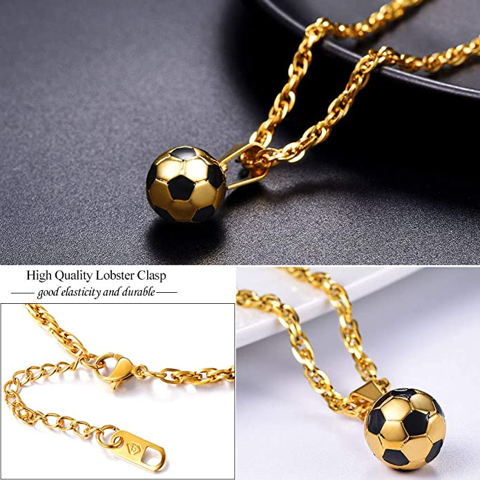 PROSTEEL Football Soccer Pendant Necklaces Men Unisex 18K Gold Plated Sporty Ball Jewelry Gift