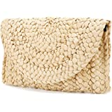 Straw Clutch Purse, JOSEKO Women Straw Envelope Bag Wallet Summer Beach Handbag Beach Clutch Woven Purse