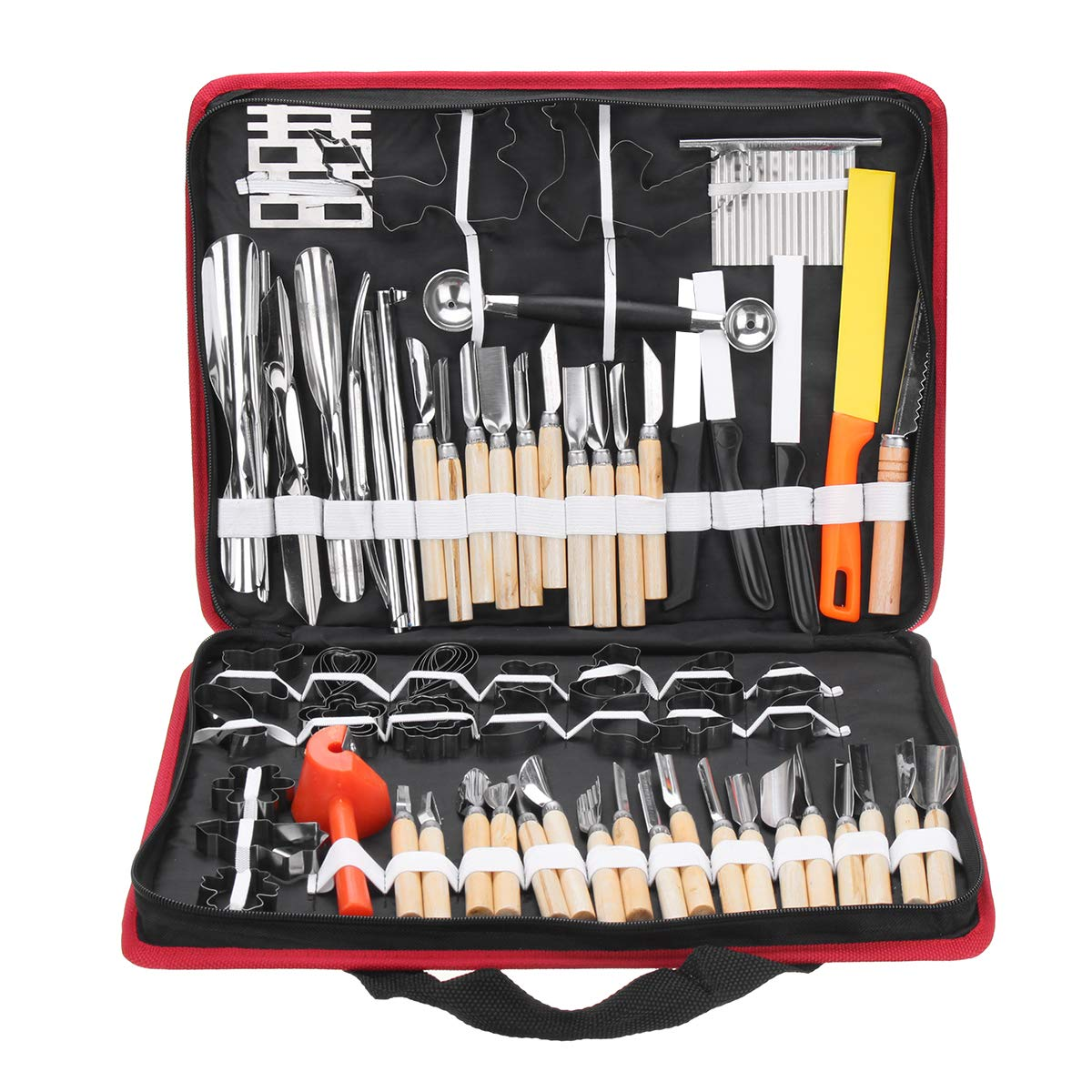 WCHAOEN 80Pcs Portable Carving Tool Vegetable Food Fruit Wood Box Carving Knife Set Accessories Tool