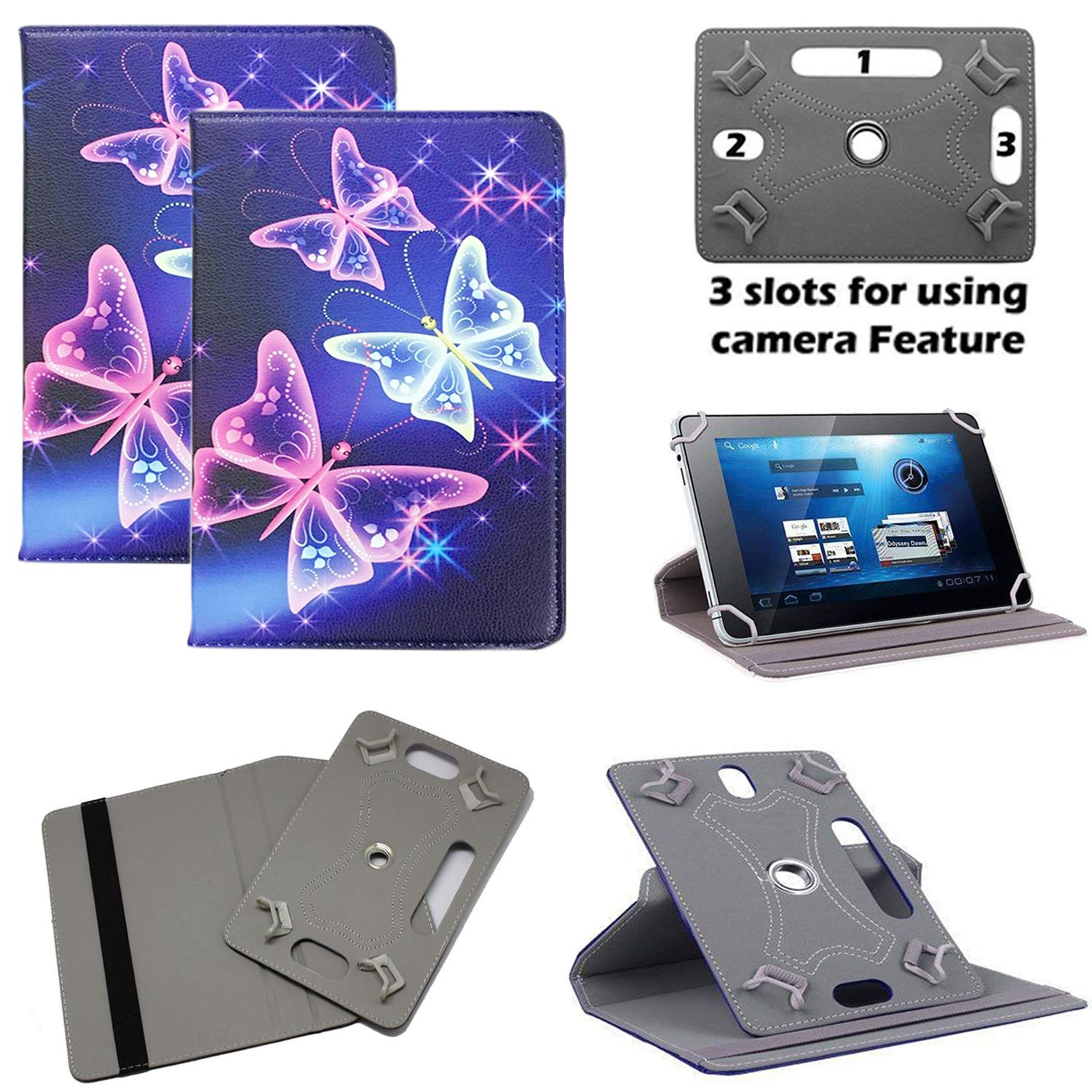 Universal PU Leather 360/° Rotational Stand Folio Case Cover Fits All Android Samsung For 10 inch // 10.1 inch, Plain Purple Flip Huawei Sony Stylus Pen Lenovo Acer Toshiba Tablets tab devices