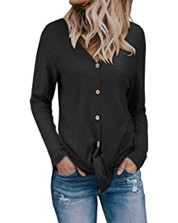 7fa123e91 KILIG Womens Long Sleeve Button Cowl Neck Casual Knitted Pullover Sweaters