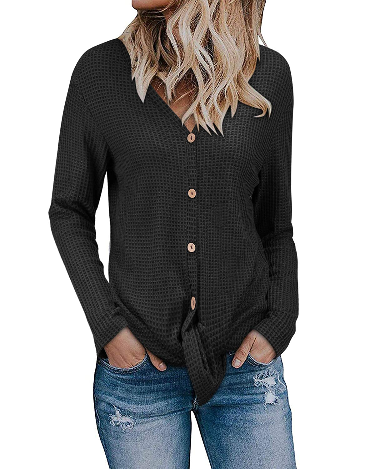 1927db6c74fcf2 KILIG Womens Long Sleeve Button Cowl Neck Casual Knitted Pullover Sweaters  at Amazon Women s Clothing store