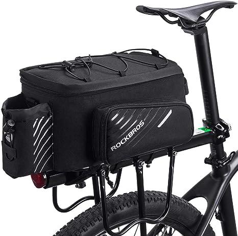 ROCKBROS Bolsa Trasera de Asiento Portaequipajes de Bicicleta con Funda Impermeable Extensible Portátil para Ciclismo con Posición para Colgar Luz Trasera Gran Capacidad Negro: Amazon.es: Deportes y aire libre