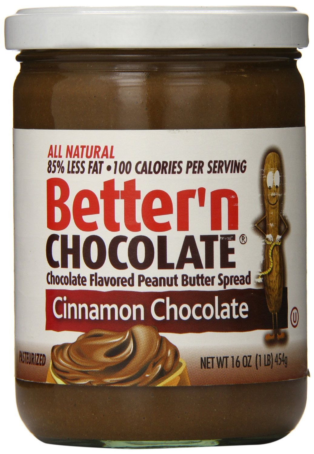 Better'n Peanut Butter Chocolate Spread, Cinnamon, 16 Ounce (Pack of 2)
