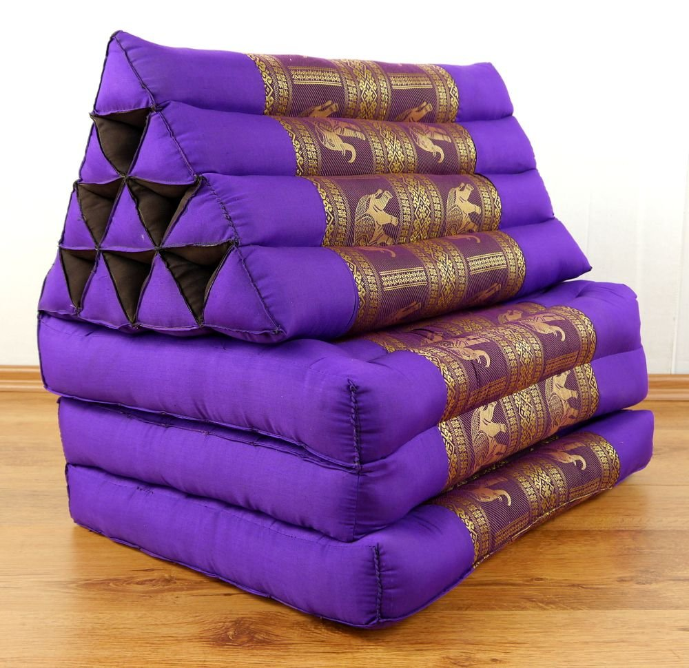 Asia Wohnstudio 3 Fold Thailand Mattress With Xxl Jumbo Asian Triangle Cushion Ans Silk Embroidery / Headrest & 100% Kapok Filling For Wellness And Relaxation (Purple Elephant) Purple Elephant by Asia Wohnstudio