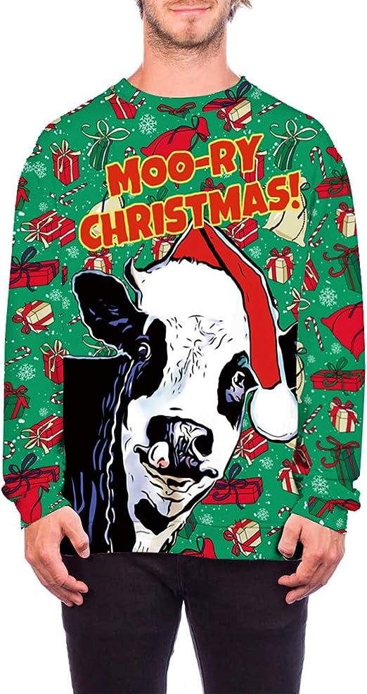 Dawwoti Sudadera De Navidad Unisex, Vacas De Navidad 3D ...