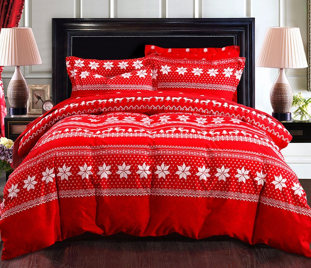 Andreannie Bedding Sets Hexagonal Snowflake Reindeer Elk Christmas Tree Sleigh Christmas Gifts RED Soft Sanding Brushed Cotton Material 4pc Duvet Cover Sets Without Comforter