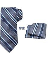 OCIA® rayas para hombre corbata de seda Conjunto:corbata + pañuelo bolsillo cuadrado + un par de gemelos + caja de regalo - Modelos A Elegir