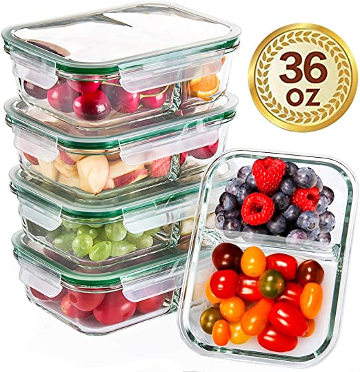 5 Pack Glass Food Storage Glass Meal Prep Containers Glass 2 Compartment