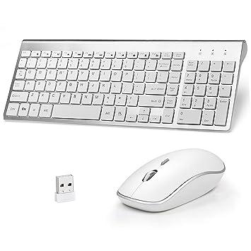 Qooker Pack de Teclado y Ratón,Wireless Keyboard with Mute Mouse,Wireless Silenciosa 2.4