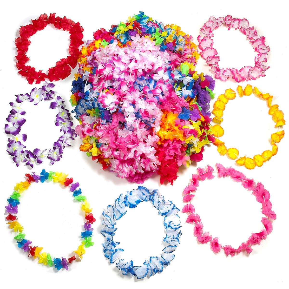Kicko 36 - 42 Inch Hawaiian Leis - 100 Pieces of Luau Flower Necklace Assortment - Perfect for Tropical Decorations, Birthday Bash, Beach and Pool Parties, Party Favor and Supplies by Kicko (Image #1)