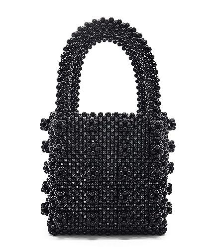 Amazon.com  Miuco Womens Beaded Handbags Handmade Weave Crystal Pearl Tote  Bags (Black)  Shoes