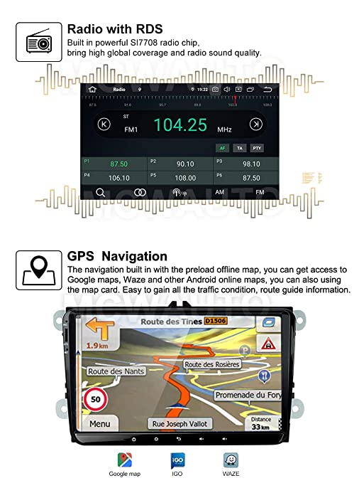 MCWAUTO for VW 9 Inch Android 9.0 Car Radio Media Player Universal Auto GPS Navigation with WiFi Bluetooth Steering Wheel Control Mirrolink