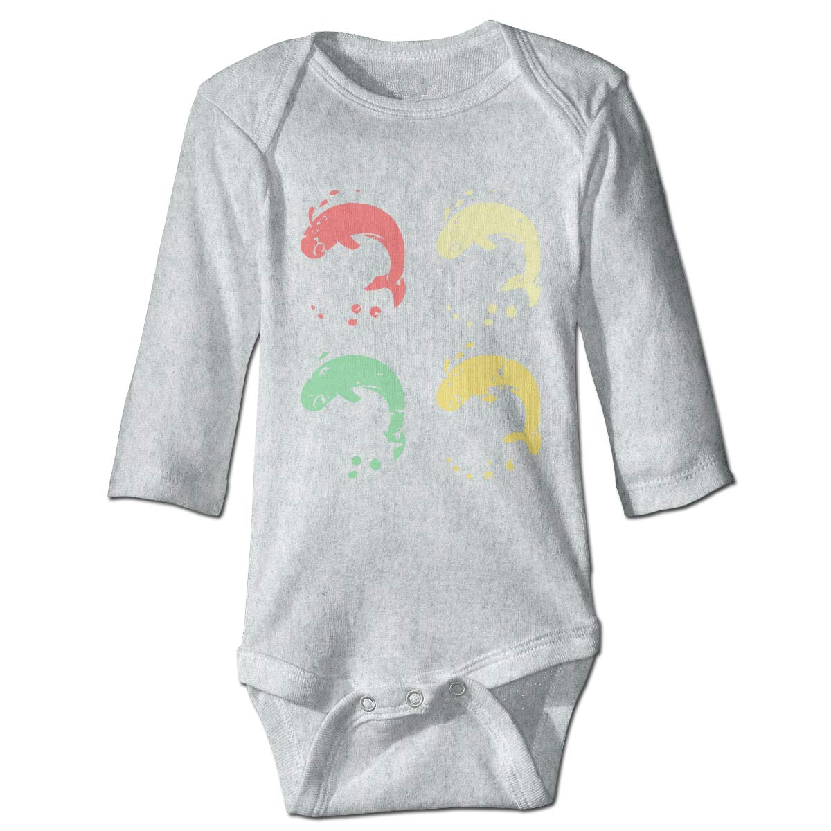 Infant Baby Girls Long Sleeve Jumpsuit Romper 4 Vintage Retro Whales Unisex Button Playsuit Outfit Clothes