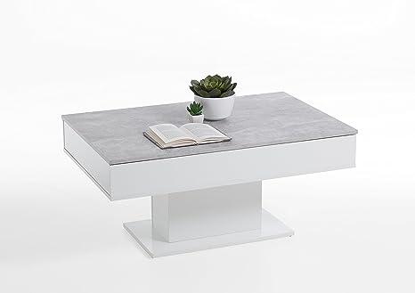 Couchtisch Säulen Beistelltisch Ausziehbar Ablagetisch 100,5x65,5cm Weiß/Beton homeforyou24